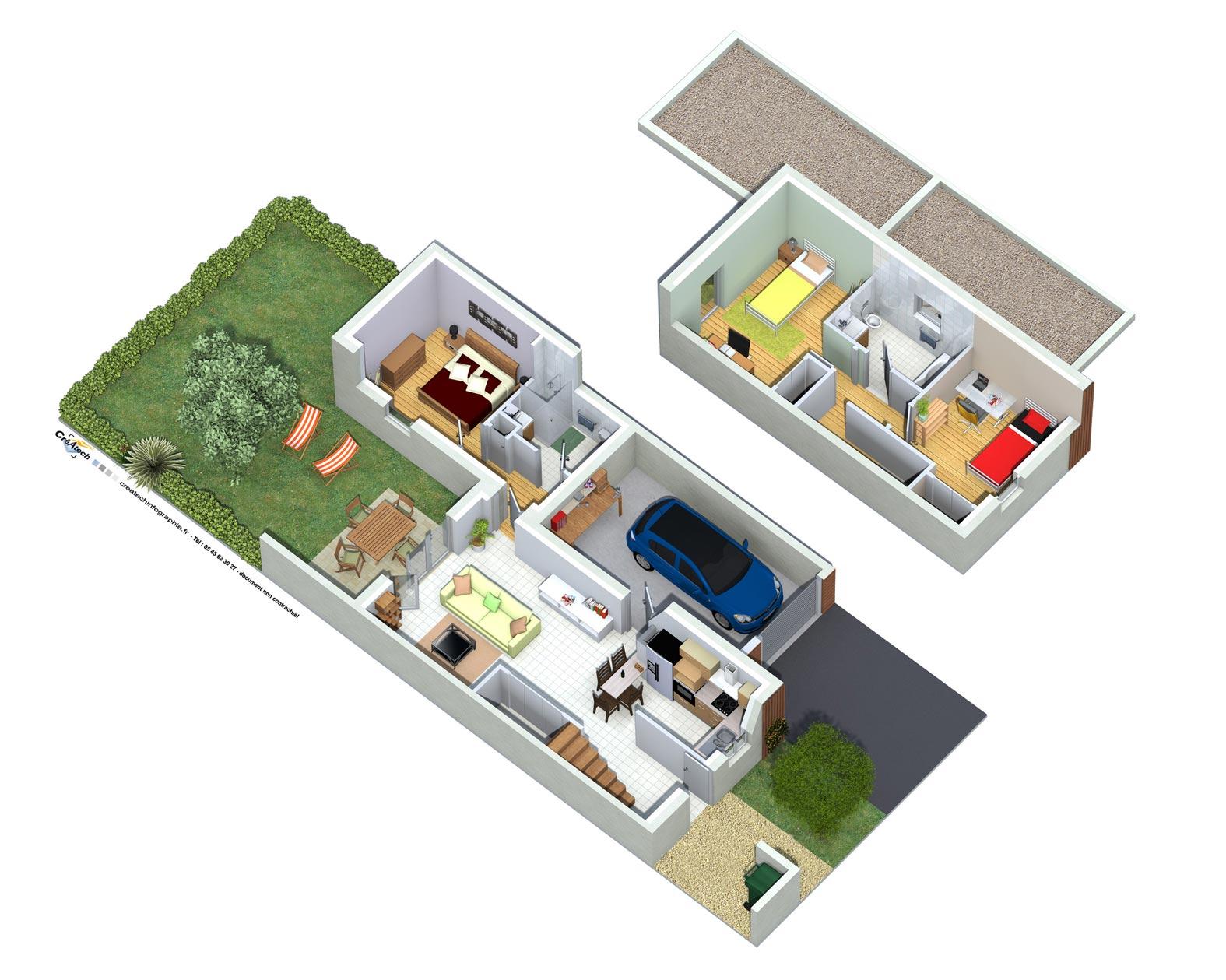 Createch r activit travail de qualit au meilleur prix for Exterieur maison 3d